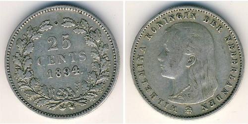 25 Цент Королівство Нідерланди (1815 - ) Срібло Вільгельміна (королева Нідерландів)(1880 - 1962)