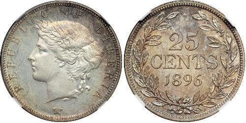 25 Cent Liberia Argento