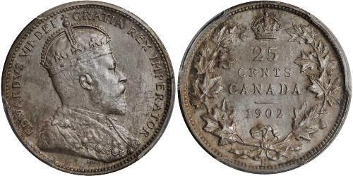 25 Cent Canadá Plata Eduardo VII (1841-1910)