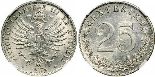 25 Centesimo 意大利王國 (1861-1946) 銀 维托里奥·埃马努埃莱三世 (1869 - 1947)