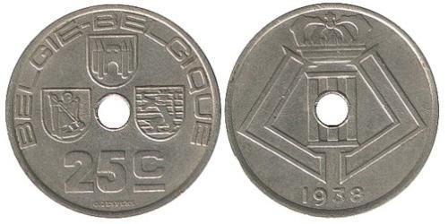 25 Centime Belgium Brass/Nickel