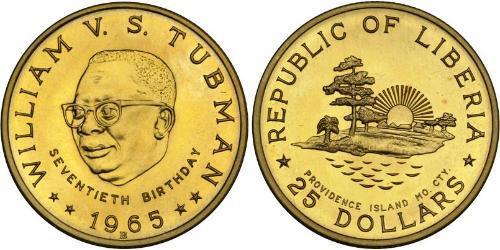 25 Dollar Liberia 金 William Tubman