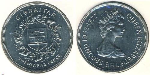 25 Penny Gibraltar Copper/Nickel Elizabeth II (1926-)