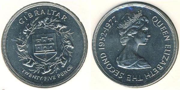 25 Penny Gibraltar Copper-Nickel Elizabeth II (1926-)