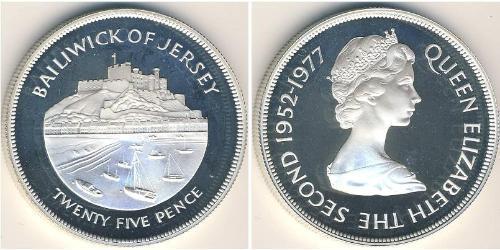 25 Penny Jersey Silber Elizabeth II (1926-)
