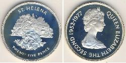 25 Penny Saint Helena (1981 - ) Silver/Copper-Nickel Elizabeth II (1926-)
