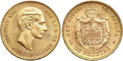 25 Peseta Kingdom of Spain (1874 - 1931) 金 Alfonso XII of Spain (1857 -1885)