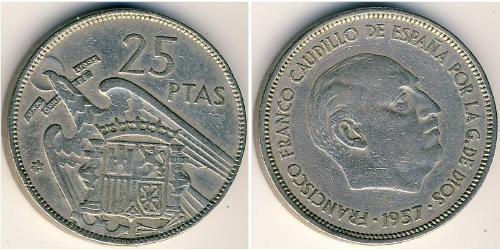 25 Peseta 佛朗哥时期 (1936 - 1975) 銅/镍 弗朗西斯科·佛朗哥 (1892 – 1975)