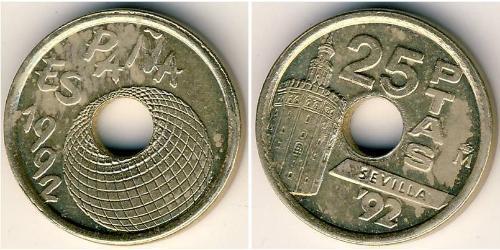 25 Peseta Kingdom of Spain (1976 - ) Bronze/Nickel Juan Carlos I of Spain (1938 - )