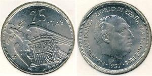 25 Peseta Francoist Spain (1936 - 1975) Copper/Nickel Francisco Franco (1892 – 1975)