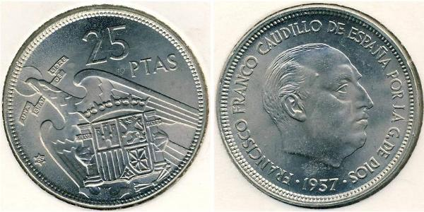 25 Peseta Francoist Spain (1936 - 1975) Copper/Nickel Francisco Franco (1892 – 1975)