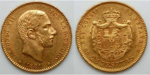 25 Peseta Kingdom of Spain (1874 - 1931) Or Alfonso XII of Spain (1857 -1885)