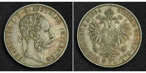 2 Гульден / 2 Флорин Австро-Венгрия (1867-1918) Серебро Франц Иосиф I (1830 - 1916)