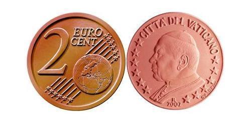 2 Евроцент Ватикан (1926-) Сталь/Медь Иоанн Павел II (1920 - 2005)