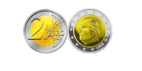 2 Евро Бельгия Биметалл Альберт II король Бельгии