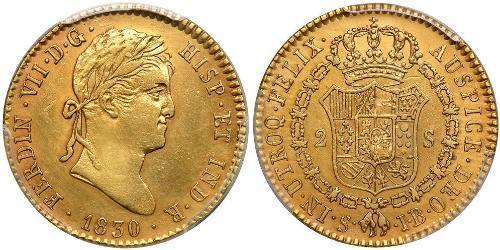 2 Ескудо Нова Іспанія (1519 - 1821) Золото Фердинанд VII король Іспанії (1784-1833)