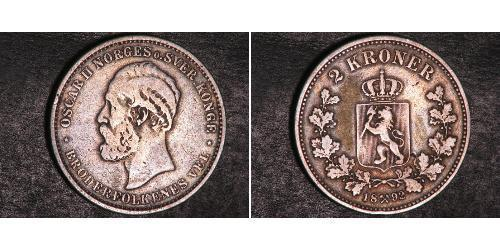 2 Крона United Kingdoms of Sweden and Norway (1814-1905) Срібло Оскар II (1829-1907)