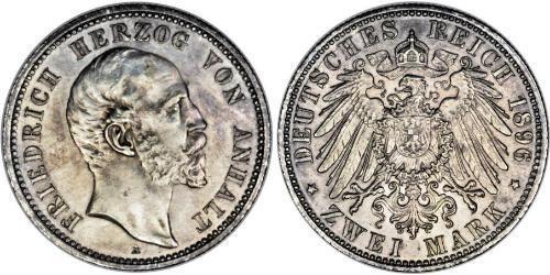 2 Марка Ангальт-Дессау (1603 -1863) Серебро Frederick I, Duke of Anhalt (1831-1904)