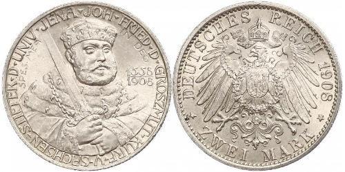 2 Марка Саксен-Веймар-Эйзенах (1809 - 1918) Серебро Вильгельм Эрнст Саксен-Веймар-Эйзенахский