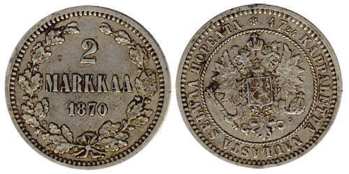 2 Марка Велике князівство Фінляндське (1809 - 1917) Срібло Олександр III (1845 -1894)