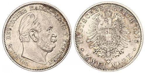 2 Марка Королівство Пруссія (1701-1918) Срібло Wilhelm I, German Emperor (1797-1888)