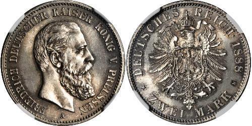 2 Марка Королівство Пруссія (1701-1918) Срібло Фрідріх III (німецький імператор) (1831-1888)