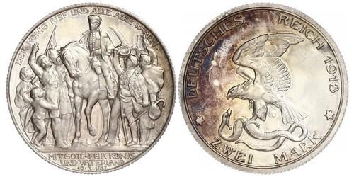 2 Марка Королівство Пруссія (1701-1918) Срібло