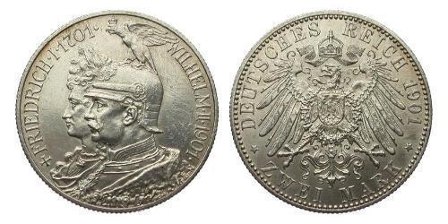 2 Марка Королівство Пруссія (1701-1918) Срібло Wilhelm II, German Emperor (1859-1941)
