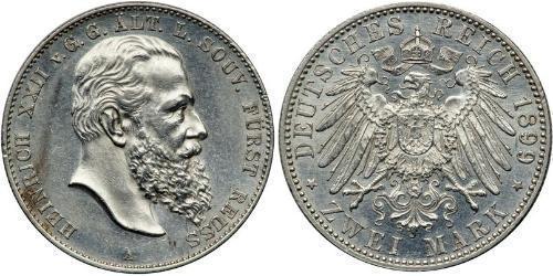 2 Марка Principality of Reuss-Greiz (1778 - 1918) Срібло Heinrich XXII (1859 - 1902)