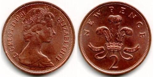2 Пенни Великобритания (1922-) Медь Елизавета II (1926-)