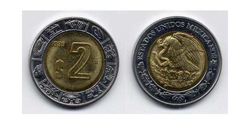 2 Песо Соединённые Штаты Мексики (1867 - ) Биметалл
