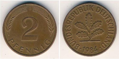 2 Пфеніг ФРН (1949-1990) Бронза