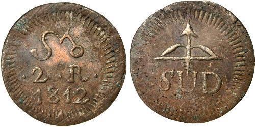 2 Реал Новая Испания (1519 - 1821) Латунь