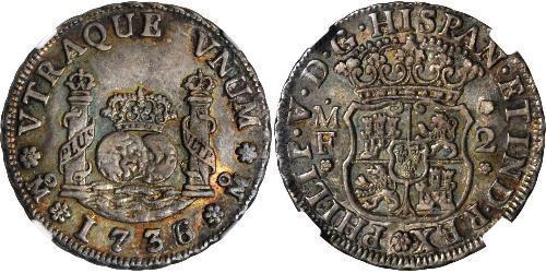 2 Реал Новая Испания (1519 - 1821) Серебро Филипп V король Испании (1683-1746)