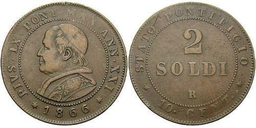 2 Сольдо Ватікан (1926-) Мідь Пій IX (1792- 1878)