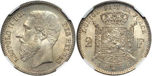 2 Франк Бельгия Серебро Леопольд II (1835 - 1909)