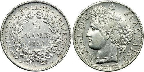 2 Франк Вторая французская республика (1848-1852) Серебро