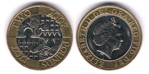 2 Фунт Великобритания (1922-) Биметалл Елизавета II (1926-)