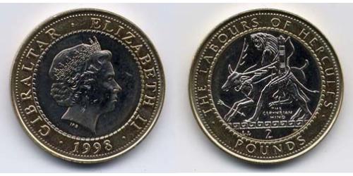 2 Фунт Гибралтар Биметалл Елизавета II (1926-)