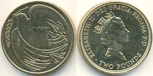 2 Фунт Великобритания (1922-) Никель/Медь Елизавета II (1926-)
