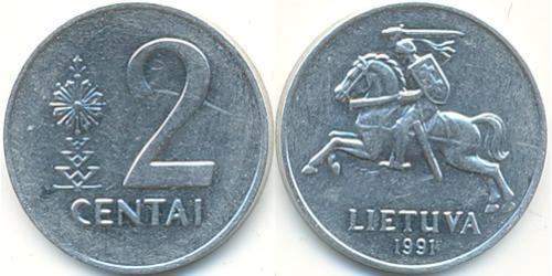 2 Цент Литва (1991 - ) Алюминий