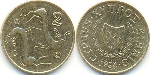 2 Цент Кипр (1960 - ) Никель/Латунь