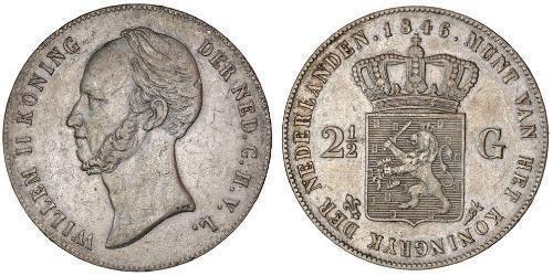 2 1/2 Gulden Regno dei Paesi Bassi (1815 - ) Argento Guglielmo II dei Paesi Bassi (1792 - 1849)