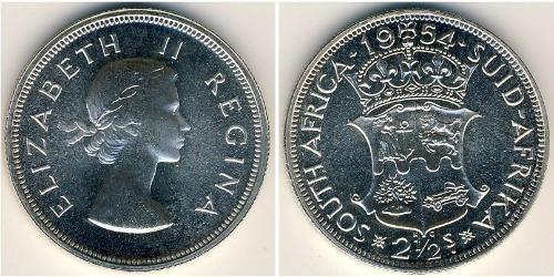 2 1/2 Shilling South Africa 銀 伊丽莎白二世 (1926-)