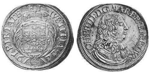 2/3 Thaler Principado de Ansbach (1398–1792) Plata John Frederick, Margrave of Brandenburg-Ansbach (1654 – 1686)