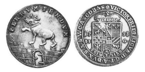 2/3 Thaler Anhalt-Bernburg (1603 - 1863) Silver Victor Frederick, Prince of Anhalt-Bernburg (1700 – 1765)