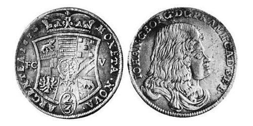 2/3 Thaler Anhalt-Dessau (1603 -1863) Silver John George II, Prince of Anhalt-Dessau (1627 – 1693)