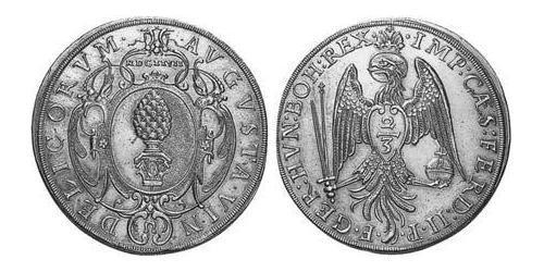 2/3 Thaler Imperial City of Augsburg (1276 - 1803) Silver Ferdinand II, Holy Roman Emperor  (1578 -1637)