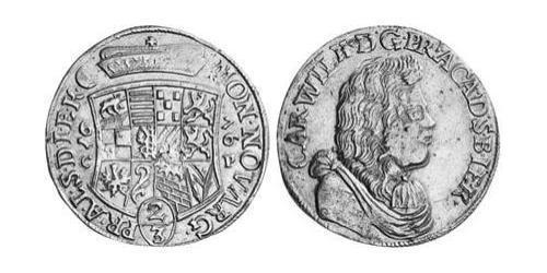 2/3 Thaler Principality of Anhalt-Zerbst (1544 - 1796) Silver Karl, Prince of Anhalt-Zerbst (1652 – 1718)