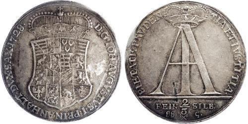 2/3 Thaler Principality of Anhalt-Zerbst (1544 - 1796) Silver John Augustus, Prince of Anhalt-Zerbst (1677 – 1742)